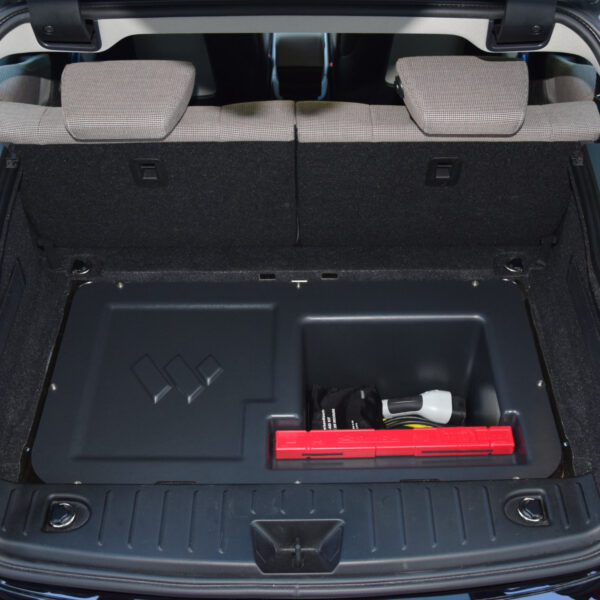 BMW i3 trunk extension installed in the back of an i3 and filled with standard equipment