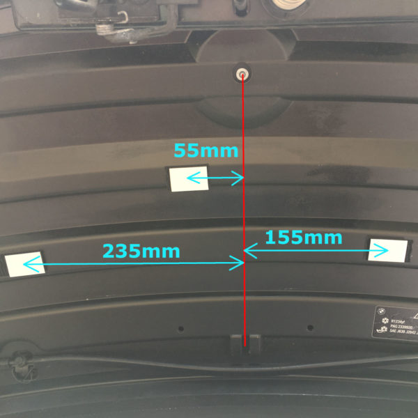 position of the velcro strips in reference to the middle of the hood